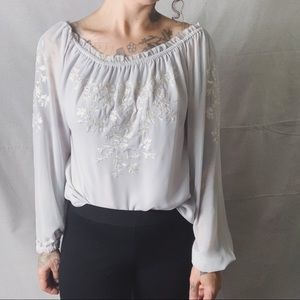 White House Black Market Tops - WHBM Embroidered Chiffon Peasant Blouse